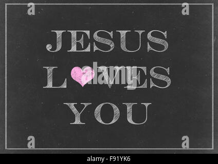 Chalk drawing - Jesus Loves You Concept on a Chalkboard - Stock Photo