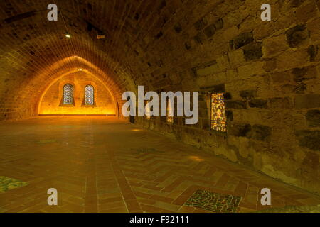 Inside the lay dormitory, L'Abbaye Sainte-Marie de Fontfroide, or Fontfroide Abbey, near Narbonne, SW France. - Stock Photo