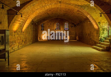 The cellar, cellier at L'Abbaye Sainte-Marie de Fontfroide, or Fontfroide Abbey, near Narbonne, SW France. - Stock Photo