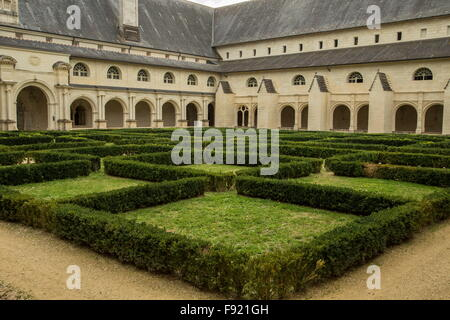 Cloisters at Royal Abbey of Our Lady of Fontevraud, Fontevrault  abbaye de Fontevraud, Fontevraud Abbey - Stock Photo