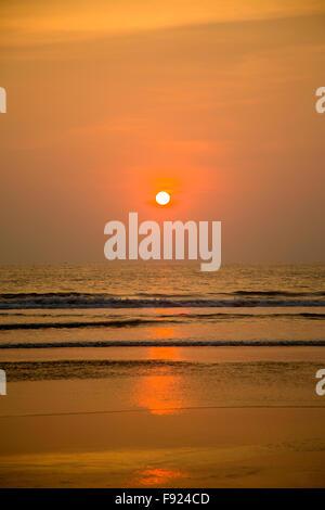 Sunset in Agonda, Goa, India - Stock Photo