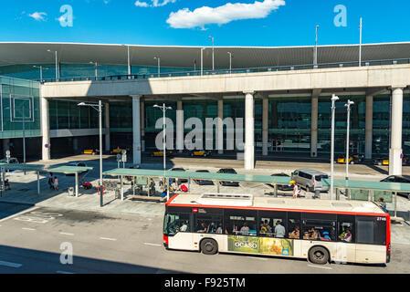 Departure Terminal at Barcelona–El Prat Airport, El Prat de Llobregat, Baix Llobregat County, Catalonia, Spain - Stock Photo
