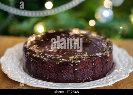 Ginger cake with chocolate sauce - Stock Photo