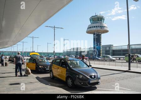 Departure level at Barcelona–El Prat Airport, El Prat de Llobregat, Baix Llobregat County, Catalonia, Spain - Stock Photo