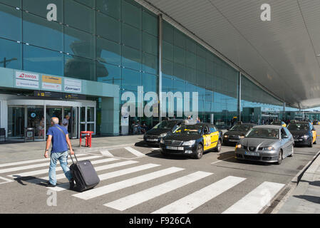 Departure level at Barcelona–El Prat Airport, El Prat de Llobregat, Baix Llobregat County, Catalonia, Spain - Stock Photo