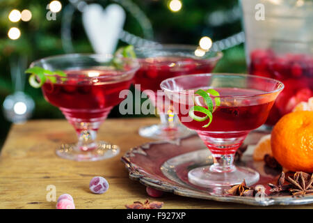 Cranberry and Clementine Christmas cocktail - Stock Photo