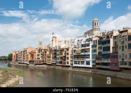Onyar River and Old Town, Girona (Gerona), Province of Girona, Catalonia, Spain - Stock Photo