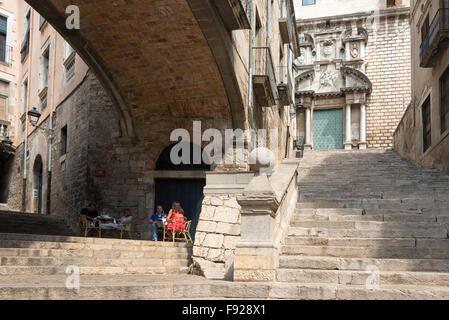 Escales de Sant Marti, Old Town, Girona (Gerona), Province of Girona, Catalonia, Spain - Stock Photo