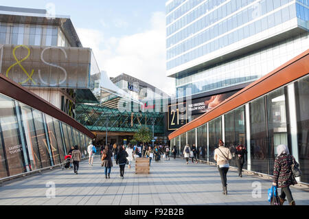 Bridge to Westfield Shopping Centre, Stratford, Newham Borough, Greater London, England, United Kingdom - Stock Photo