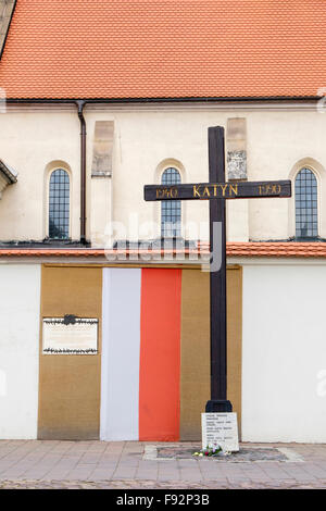 Memorial cross of Katyn outside St Giles church dedicated to victims of massacre in 1940 but denied by Russia. Krakow Poland