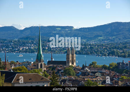 View over Zurich with the alps in the back - Stock Photo