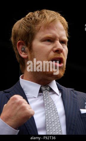 Pierre Baigorry (Peter Fox) - Auftritt der Band 'Seeed' - Demonstration 'Energiewende sichern', 10. Mai 2014, Berlin - Stock Photo