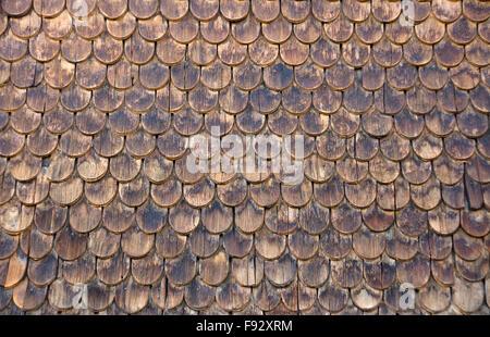 Wall of wooden shingles - Stock Photo