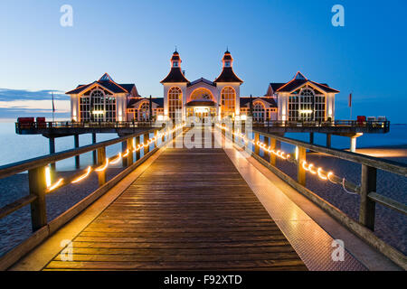 Beautiful pier with restaurant in Sellin, Baltic Sea, Germany - Stock Photo