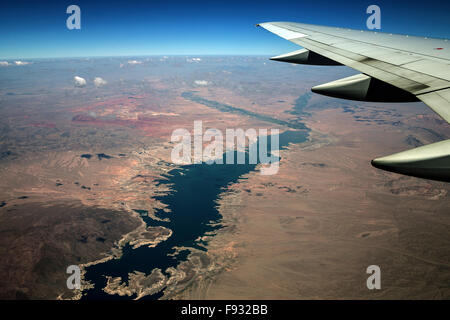 Lake Mead, view from plane, Nevada, USA - Stock Photo