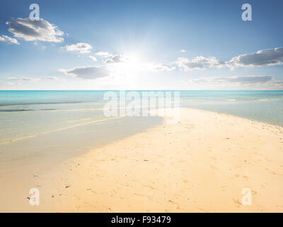 Sand beach and turquoise water in lagoon - Stock Photo