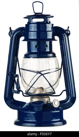 blue kerosene lantern isolated on white background - Stock Photo