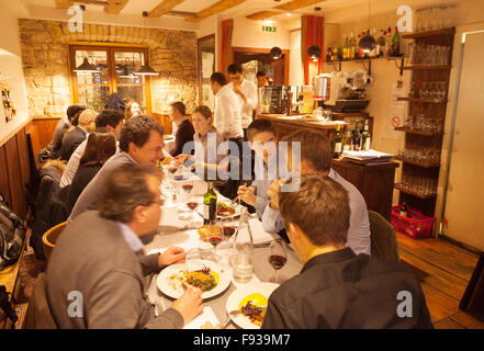 People eating a meal in a restaurant, Strasbourg old town , Alsace, France Europe - Stock Photo