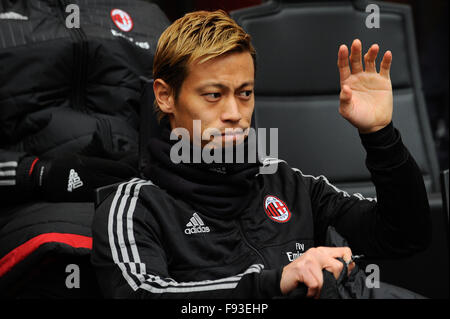 Milan, Italy. Decembe 13th, 2015. Keisuke Honda of AC Milanduring the Italian Serie A League soccer match between - Stock Photo