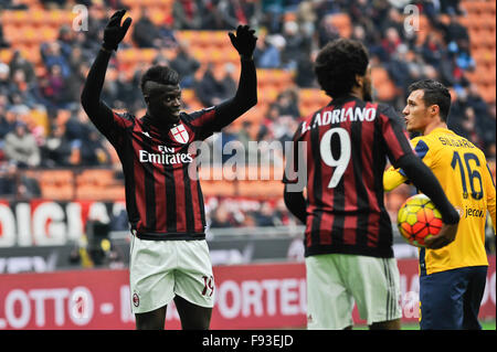Milan, Italy. Decembe 13th, 2015.  M'Baye Niang of  AC Milan during the Italian Serie A League soccer match between - Stock Photo