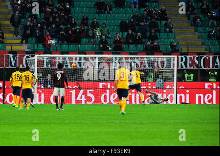 Milan, Italy. Decembe 13th, 2015.  Toni of H. Verona during the Italian Serie A League soccer match between AC Milan - Stock Photo