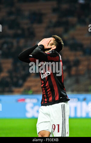 Milan, Italy. Decembe 13th, 2015.  Andrea Bertolacci of  AC Milan during the Italian Serie A League soccer match - Stock Photo