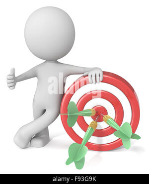 Dude 3D character giving thumbs up holding dartboard. Red and white board with green dart arrows. - Stock Photo