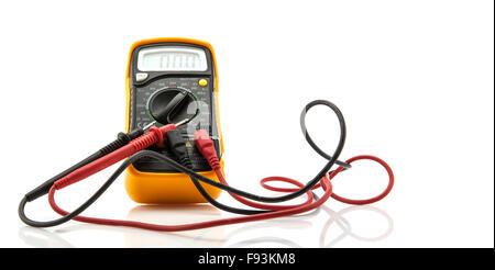 Digital multimeter on white background - Stock Photo