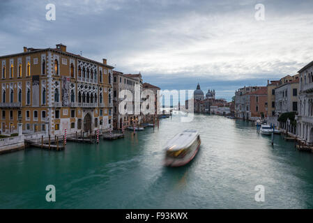 The view from the Ponte dell' Accademia looking towards the Santa Maria della Salute on the Canal Grande; Venice, - Stock Photo