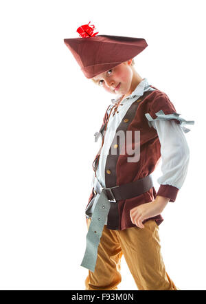 Little boy wearing pirate costume  on white background - Stock Photo