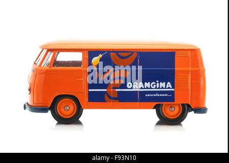 Old VW Van with Orangina Logo on a White Background - Stock Photo