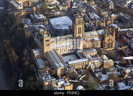 aerial view of Durham Cathedral, UK - Stock Photo