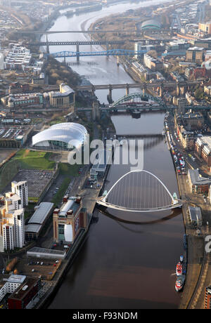 aerial view of the five Tyne bridges across the River Tyne and the Sage in Newcastle, UK - Stock Photo