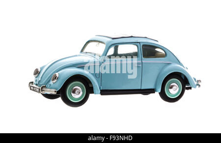 VW Beetle in Blue Die cast model on a white background. - Stock Photo