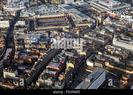 aerial view of Grey Street leading up to the Monument and Central Arcade, Newcastle upon Tyne city centre, UK - Stock Photo