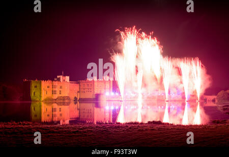 The annual fireworks display at Leeds Castle, Maidstone, Kent, UK. - Stock Photo