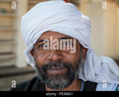 Sadhu with a white turban, Pushkar, Rajasthan, India - Stock Photo