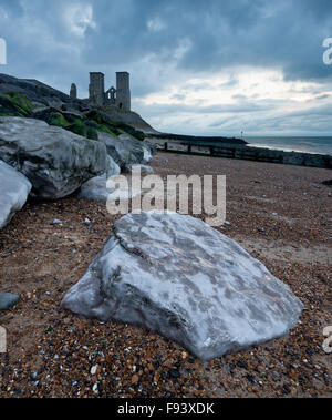 A dramatic view of the twin towers of St. Mary's Church at Reculver on the North Kent coast. - Stock Photo