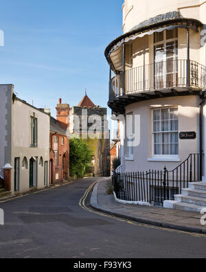 A street leading towards St Clement's Church in Old Town, Hastings, East Sussex. - Stock Photo