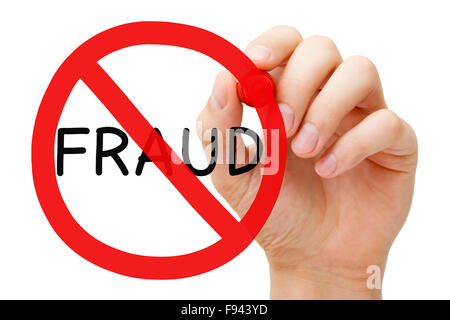 Hand drawing Fraud prohibition sign concept with red marker on transparent wipe board. - Stock Photo