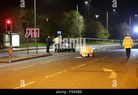 Bournemouth, Dorset, UK. 13th December, 2015. A couple out walking have been mowed down by a car in Bournemouth - Stock Photo