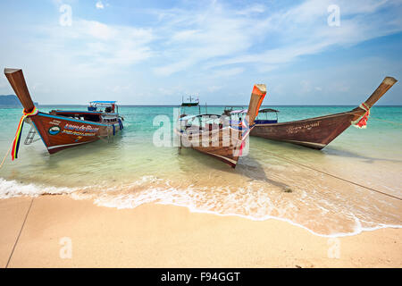 Longtail boats at the beach on Poda Island (Koh Poda). Krabi Province, Thailand. - Stock Photo