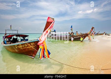 Longtail boats at the beach on Poda Island (Koh Poda). Krabi Province, Thailand. - Stock Photo