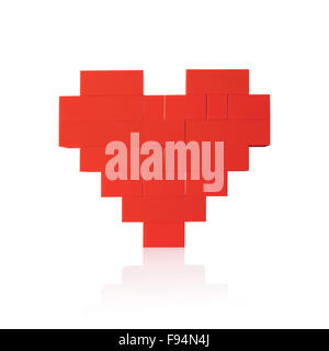 Heart made of red plastic blocks. Isolated on white background. - Stock Photo