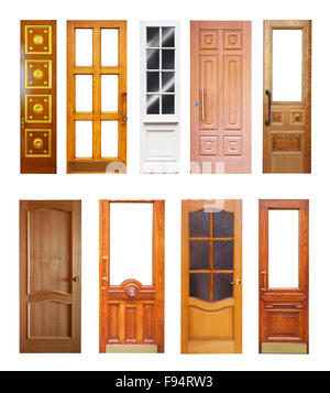 Set of wooden doors. Isolated on white background - Stock Photo