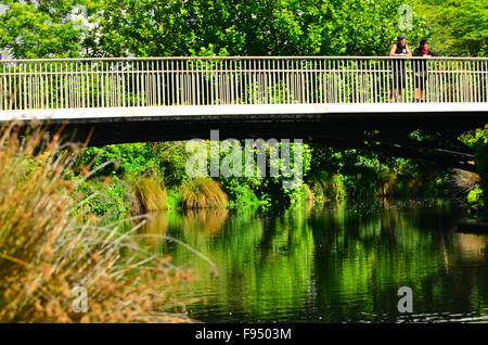 CHRISTCHURCH - DEC 08 2015:Visitors on a bridge spanning over the in Avon River Christchurch. The land along the - Stock Photo