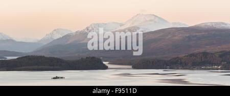 View of Ben Lomond above a cold Loch Lomond in winter - Scotland, UK - Stock Photo