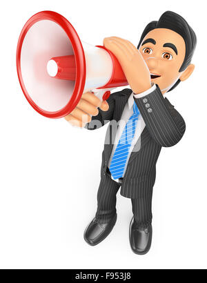 3d business people. Businessman talking through a megaphone. Isolated white background. - Stock Photo