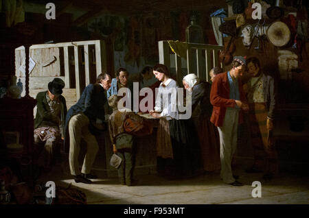 Carl d'Unker (1828-1866). Swedish painter. The Pawn Shop II, 1859. National Museum. Stockholm. Sweden. - Stock Photo