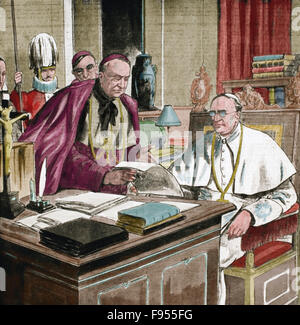 Pope Pius XI (1857-1939). Reigned form 1922-1939. Engraving. Colored. - Stock Photo